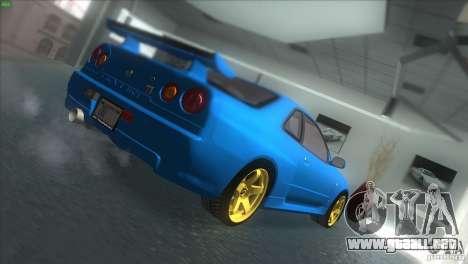 Nissan Skyline GTR-34 para GTA San Andreas vista posterior izquierda
