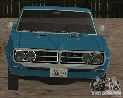 Pontiac Firebird Conversible 1966 para visión interna GTA San Andreas