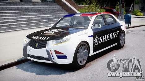 Carbon Motors E7 Concept Interceptor Sherif ELS para GTA 4 vista hacia atrás