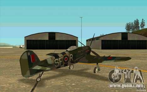 Hawker Typhoon para la visión correcta GTA San Andreas
