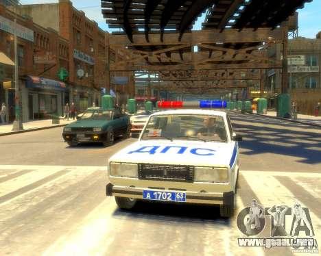 Policía Vaz 2105 para GTA 4 vista hacia atrás