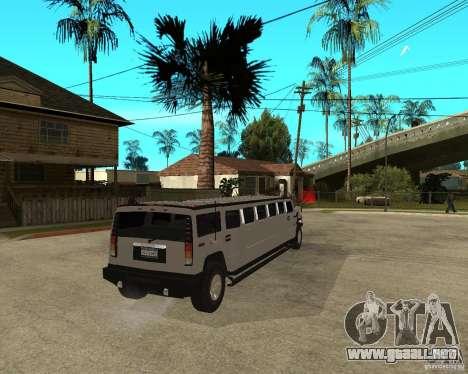 AMG H2 HUMMER 4x4 Limusine para GTA San Andreas vista posterior izquierda