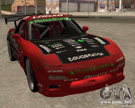 Mazda RX-7 drift king para GTA San Andreas vista posterior izquierda
