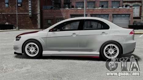 Mitsubishi Lancer Evolution X ToneBee Designs para GTA 4 left