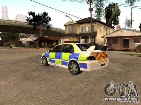 Mitsubishi Lancer EVO 8 Uk Policecar para GTA San Andreas left