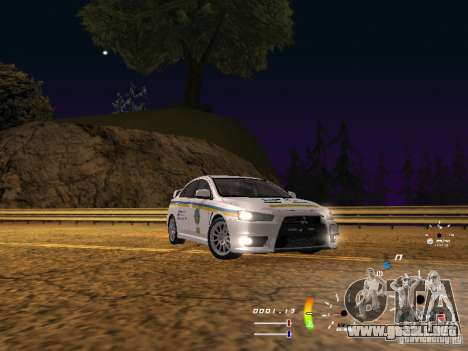 Mitsubishi Lancer Evolution X DPS para GTA San Andreas vista posterior izquierda