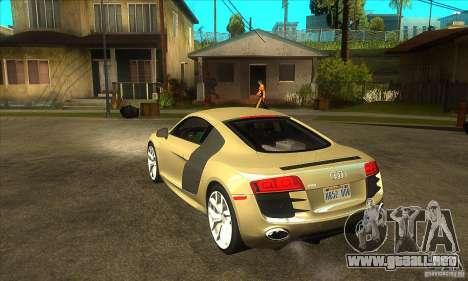Audi R8 V10 5.2 FSI Quattro para GTA San Andreas vista posterior izquierda