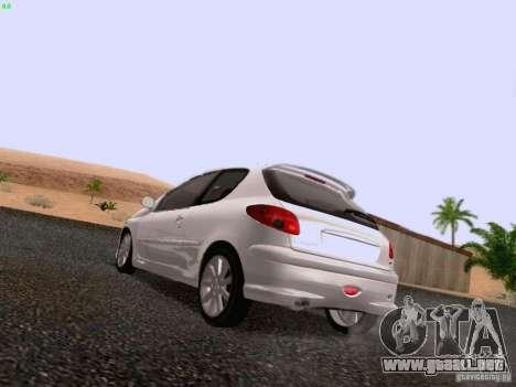Peugeot 206 para GTA San Andreas vista posterior izquierda