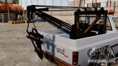 Rancher Tow Truck ELS para GTA 4 vista hacia atrás