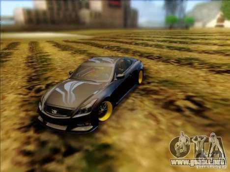 Infiniti G37 HellaFlush para GTA San Andreas vista posterior izquierda