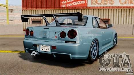 Nissan Skyline GT-R (BNR34) 2002 para GTA 4 Vista posterior izquierda