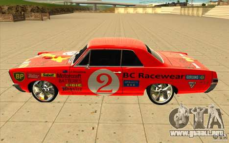Pontiac GTO 1965 NFS Pro Street con vinilos nuev para GTA San Andreas vista hacia atrás