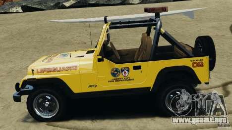 Jeep Wrangler 1988 Beach Patrol v1.1 [ELS] para GTA 4 left