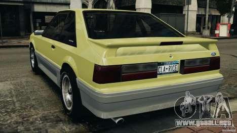 Ford Mustang GT 1993 v1.1 para GTA 4 Vista posterior izquierda