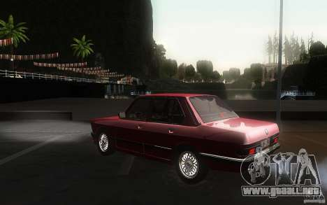 BMW E28 525e ShadowLine Stock para GTA San Andreas vista posterior izquierda