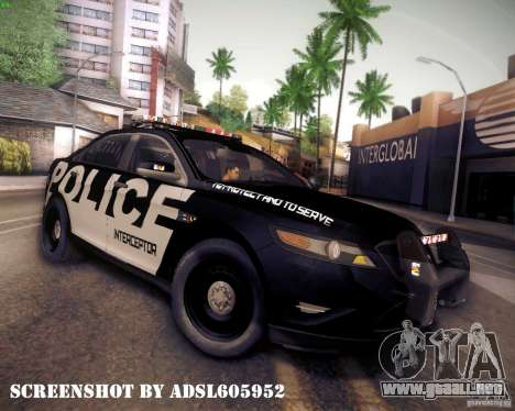 Ford Taurus Police Interceptor 2011 para GTA San Andreas left