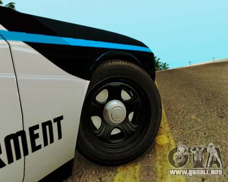 Dodge Challenger SRT8 2010 Police para GTA San Andreas vista hacia atrás