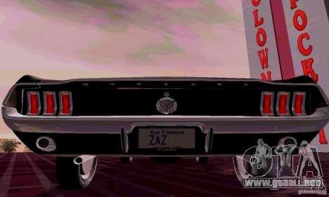Ford Mustang 1967 para GTA San Andreas vista posterior izquierda