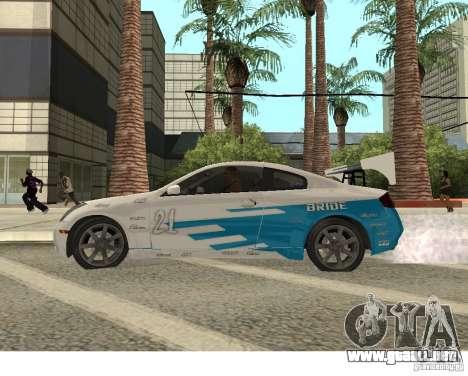 Infiniti G35 Coupe para GTA San Andreas vista hacia atrás