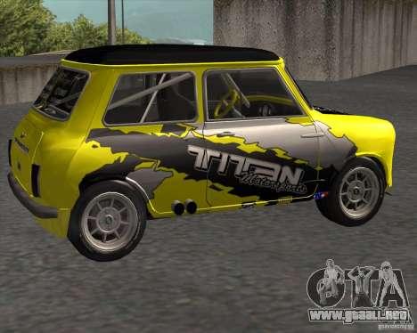 Mini Cooper S Titan Motorsports para GTA San Andreas left
