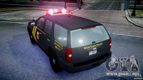 Chevrolet Tahoe Indonesia Police para GTA 4 vista hacia atrás