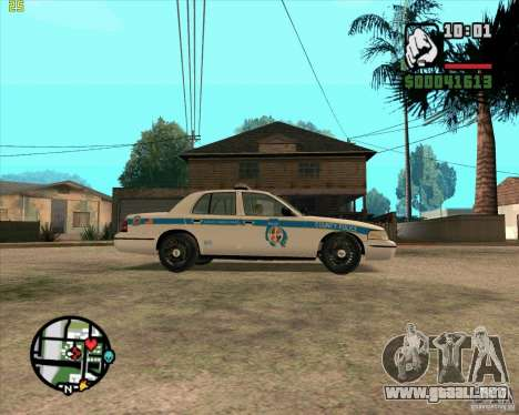 Ford Crown Victoria Baltmore County Police para GTA San Andreas vista posterior izquierda