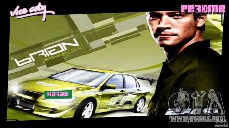 2 Fast 2 Furious Menu Brian para GTA Vice City segunda pantalla