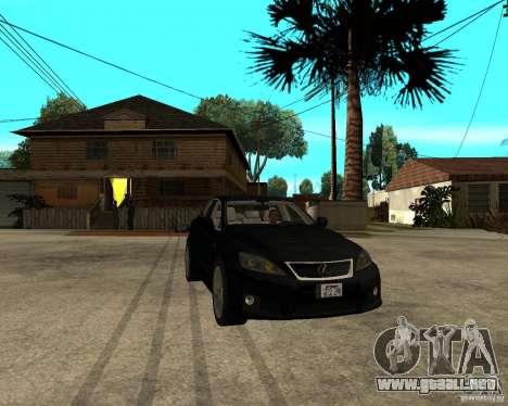 Lexus IS-F v2.0 para GTA San Andreas vista hacia atrás