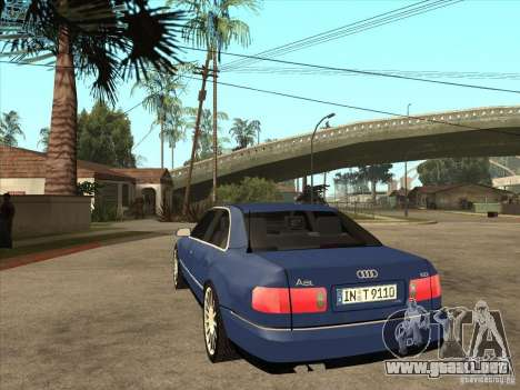 Audi A8 para GTA San Andreas vista posterior izquierda