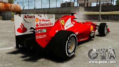Ferrari F2012 para GTA 4 Vista posterior izquierda