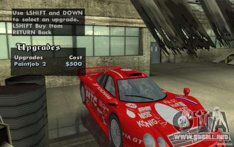Mercedes-Benz CLK GTR road version (v2.0.0) para visión interna GTA San Andreas