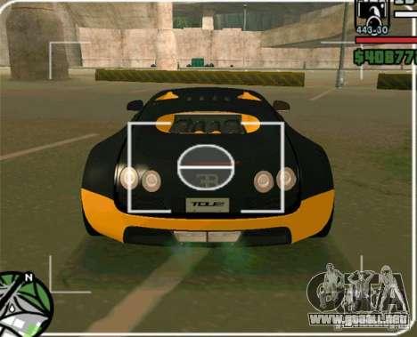 Bugatti Veyron Super Sport final para GTA San Andreas vista posterior izquierda