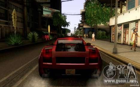 Lamborghini Gallardo Superleggera para GTA San Andreas vista hacia atrás