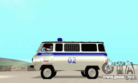 Policía UAZ para GTA San Andreas vista hacia atrás