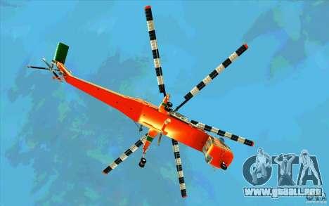 Sikorsky Air-Crane S-64E para GTA San Andreas vista hacia atrás