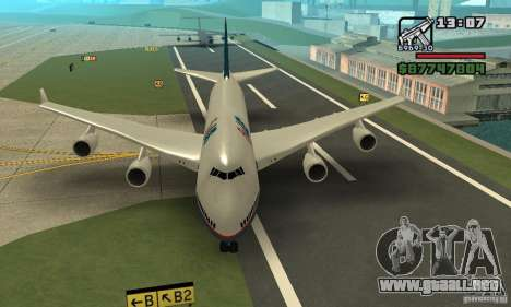 GTA 4 aeronaves Boeing 747 para GTA San Andreas vista posterior izquierda