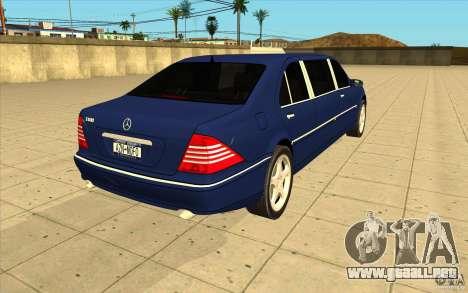 Mercedes-Benz S600 Pullman W220 para vista lateral GTA San Andreas