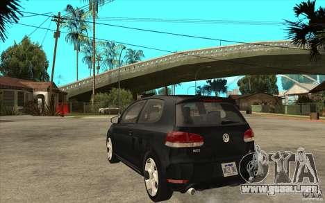 VW Golf 6 GTI para GTA San Andreas vista posterior izquierda