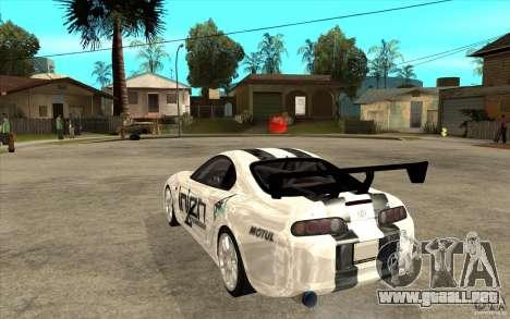 Toyota Supra MK-4 para GTA San Andreas vista posterior izquierda