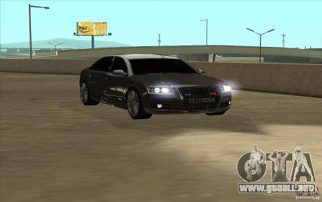 Audi A8l W12 6.0 para GTA San Andreas vista posterior izquierda