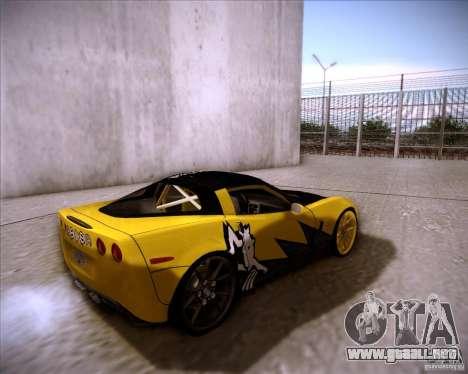 Chevrolet Corvette C6 super promotion para GTA San Andreas vista posterior izquierda