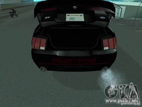 Ford Mustang GT Police para GTA San Andreas vista hacia atrás