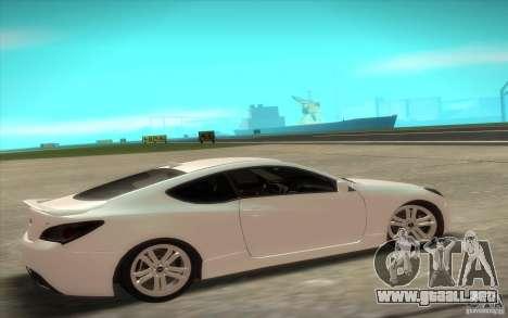 Hyundai Genesis 3.8 Coupe para GTA San Andreas vista posterior izquierda