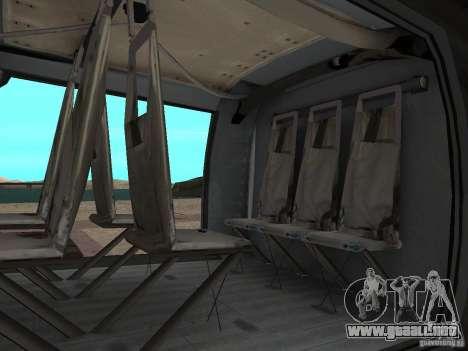El helicóptero de CoD 4 MW para GTA San Andreas vista posterior izquierda