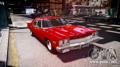 Dodge Monaco 1974 stok rims para GTA 4 vista hacia atrás
