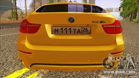 BMW X6M E71 v2 para GTA San Andreas vista hacia atrás