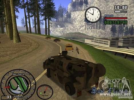 Australian Bushmaster para GTA San Andreas vista hacia atrás