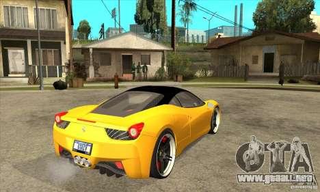 Ferrari 458 Italia custom para la visión correcta GTA San Andreas