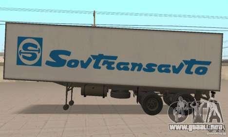 Sovtransavto Trailer para GTA San Andreas vista posterior izquierda