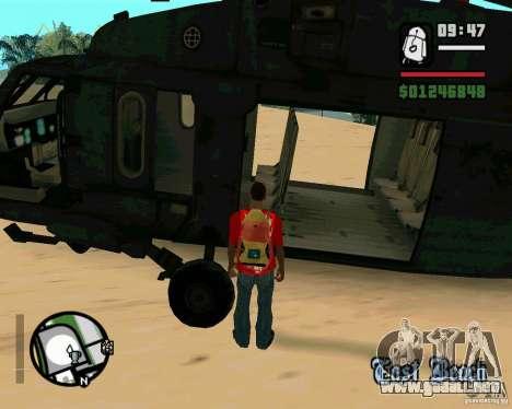 Blackhawk UH60 Heli para visión interna GTA San Andreas